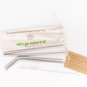 Metal Straw- Reusable Stainless Steel Straws in a Bag