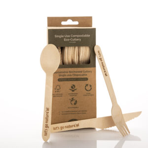 Wooden Cutlery Pack with forks, knives & spoons
